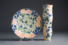 Mixed Bunches. Platter - 32cmw x 5cm h Vase - 36cmh x 10cm Thrown and hand decorated earthenware.