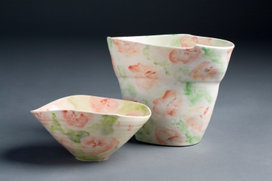 Camellias. Thrown and decorated porcelain vase, 24cm h x 18cmw x 12cmd. Thrown and hand decorated porcelain bowl, 12cm h x 14cmh x 12cmd