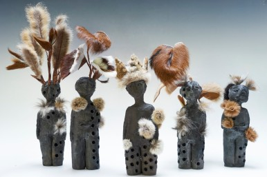 Ceremony of Beings.Mixed media - saggar fired figures, dog fur, cane toad skin, roo skin, rabbit fur. 1mw x 1md x 20cmh