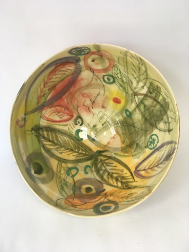 Bowl - Green Spring. Decorated earthenware 32cmw x 15cmh